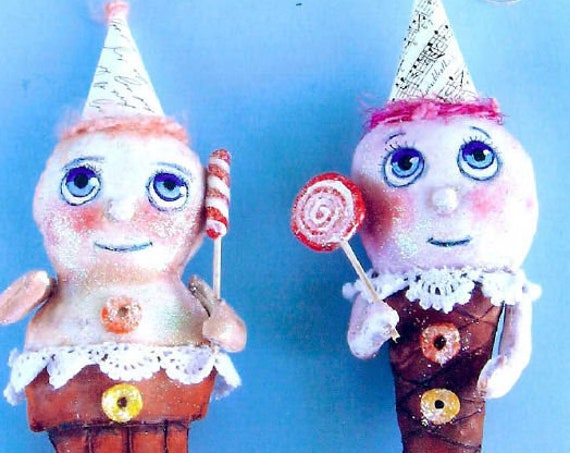 SE754 - Ice Cream Cone, Doll Ornament Pattern,  Sewing Cloth Doll Pattern - PDF Download by Susan Barmore