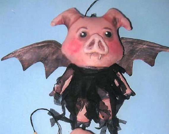 SE789 - Piggie Vampire Ornaments, Doll Ornament Pattern,  Sewing Cloth Doll Pattern - PDF Download by Susan Barmore