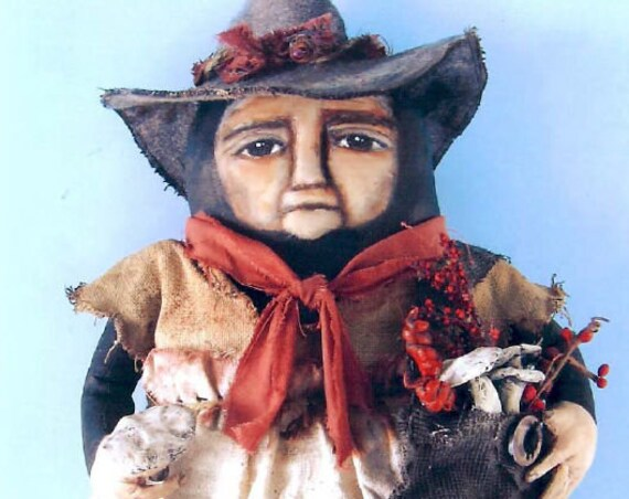 """SE723 - Field Witch,  15"""" Fabric Doll Pattern,  Sewing Cloth Doll Pattern - PDF Download by Susan Barmore"""