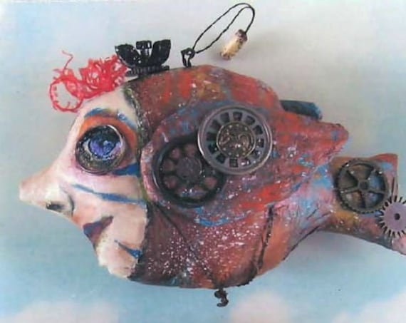 SE815 -Steampunk Fish Ornaments, Cloth Art Doll Pattern.  PDF Download E-Pattern by Susan Barmore