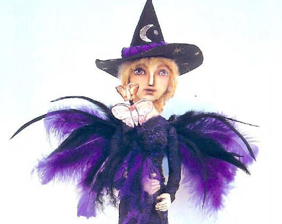 """SE773 - Butterfly Witch,  16"""" Witch Fabric Art Doll Pattern,  Sewing Cloth Doll Pattern - PDF Download by Susan Barmore"""