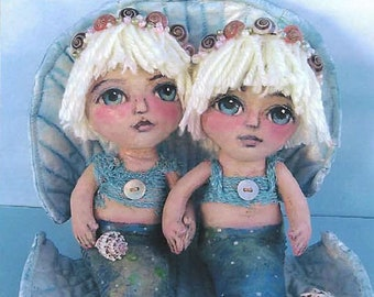 SE798 - Sea Sisters,  Mermaid Fabric Doll Pattern,  Sewing Cloth Doll Pattern - PDF Download by Susan Barmore