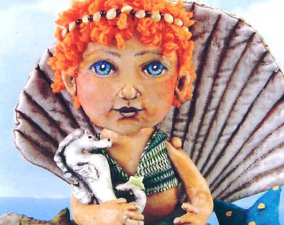 SE775 - Sea Child, Mermaid Doll and Shell Fabric Pattern,  Sewing Cloth Doll Pattern - PDF Download by Susan Barmore