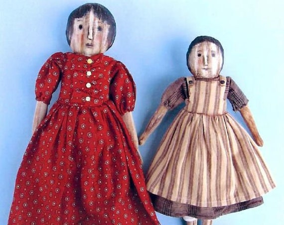 """SE820 - Dot and Frankie, 11"""" and 13"""" Primitive Fabric Doll Pattern,  Sewing Cloth Doll Pattern - PDF Download by Susan Barmore"""