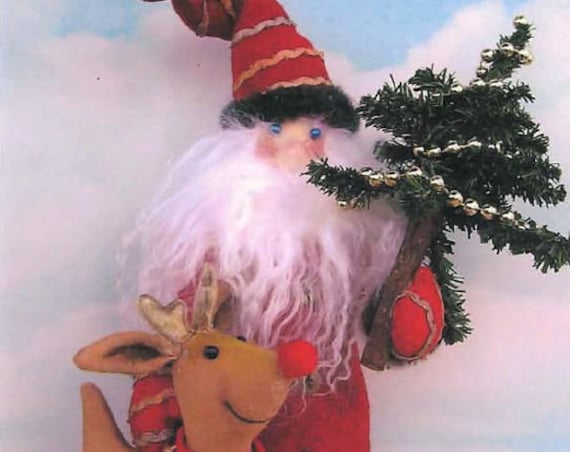 SE0121 - Santa with Reindeer, Christmas Holiday Fabric Doll Pattern,  Sewing Cloth Doll Pattern - PDF Download by Susan Barmore