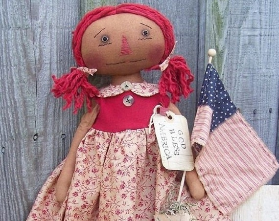 RP350E - God Bless America Annie, PDF Download Raggedy Ann Cloth Doll Pattern by Michelle Allen of Raggedy Pants Designs