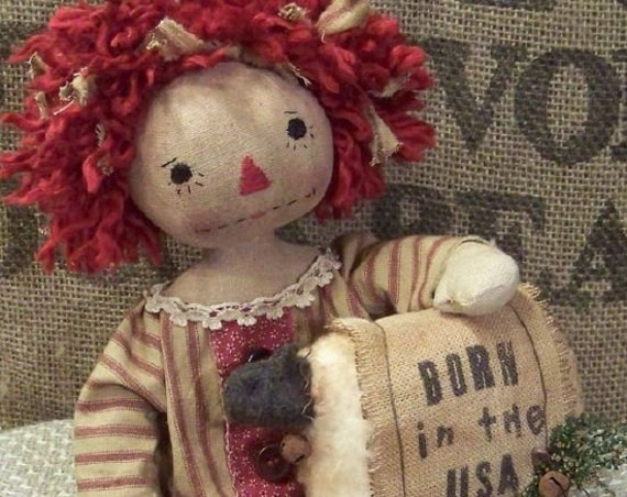 RP357E -  Born In The USA, PDF Download Raggedy Ann Cloth Doll Pattern by Michelle Allen of Raggedy Pants Designs