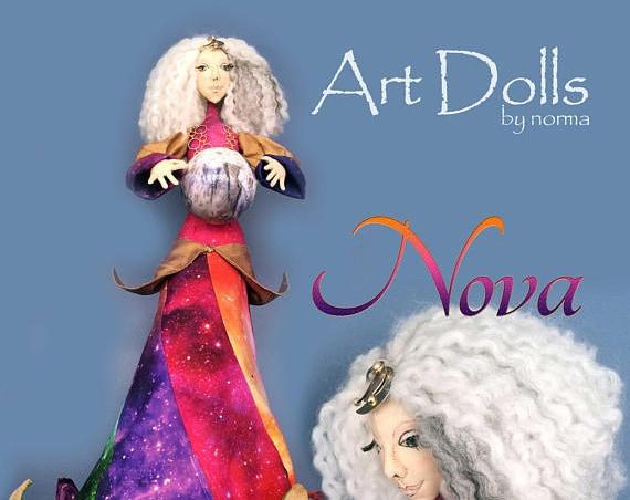 NI105E - Nova,  Female  Goddess Art Doll,  PDF Download Cloth Doll Making Pattern