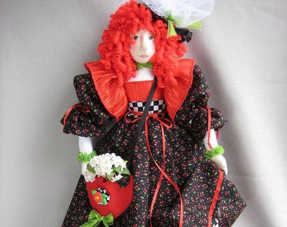 HB807E - Lisette, A Gift Bag Doll, Fabric Doll Making Sewing Pattern - PDF Download by Billie Heisler