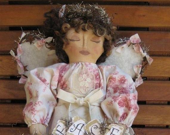 "HB911E -  12"" Folk Art Angel Tree Topper, Cloth Doll Sewing Pattern - PDF Download by Billie Heisler"