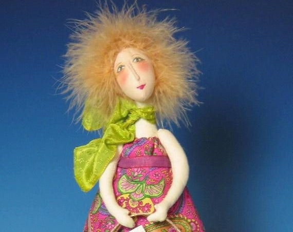 """CR907E - Estelle, 12""""  Whimsical PDF Download Cloth Art Doll Pattern by Cindee Moyer"""