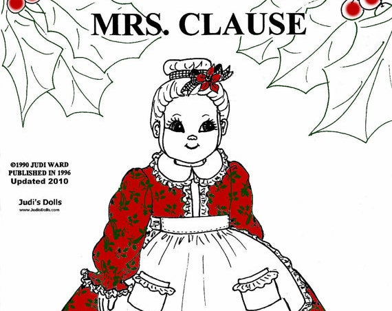 Judi Ward Original Design - Mrs. Clause, Santa's Wife Doll ~ Cloth Doll  Making E-Pattern - Download Sewing Pattern