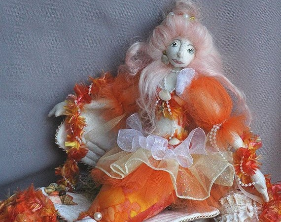 HB810E -  Audrina, 16 inch Mermaid Cloth Doll and Cloth Seashell Sewing Pattern - PDF Download by Billie Heisler