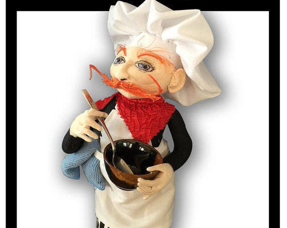 NI101E – Bon Appetit!, A French Chef Cloth Doll Making Sewing Pattern