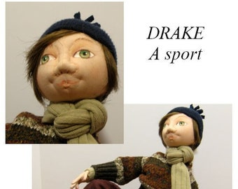 """BS327E -Drake, 9"""" Seated Cloth Boy Doll Pattern -  PDF Download Sewing Pattern by Barbara Schoenoff"""