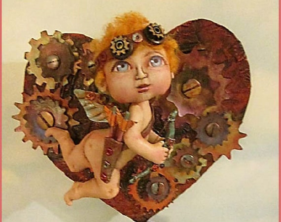 SE758 - My Funky Valentine, Steampunk Cupid Doll Sewing Art Patterns - PDF Download by Susan Barmore