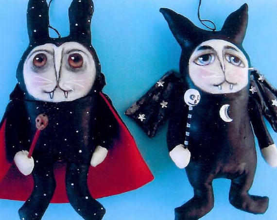 SE823 -Vampire Bunnies,  Ornament Art Doll Pattern,  Sewing Cloth Doll Pattern - PDF Download by Susan Barmore