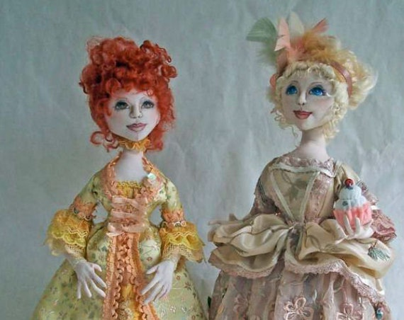 "SI408E - Ladies of the French Court  - 19"" Cloth Doll Sewing Tutorial/Pattern - PDF Download by Stephanie Novatski"