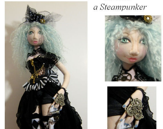 "BS324E -  Anneal, 18"" Steampunk Cloth Doll Pattern -  PDF Download Sewing Pattern by Barbara Schoenoff"