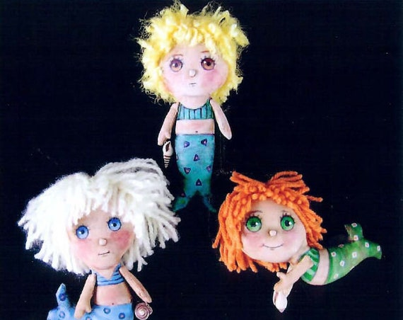 SE752 - Little Mermaid, Doll Ornament Pattern,  Sewing Cloth Doll Pattern - PDF Download by Susan Barmore