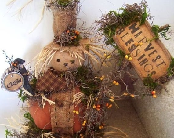 RP360E - Harvest Blessing, Primitive Scarecrow PDF Download Cloth Doll Pattern by Michelle Allen of Raggedy Pants Designs
