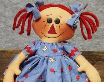 RP138E - Ladybug Annie , Raggedy Ann Style Doll Sewing Pattern by Michelle Allen of Raggedy Pants Designs - PDF Download