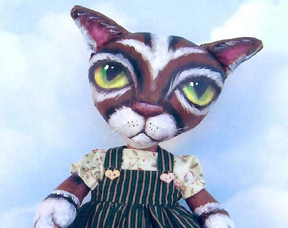 "SE373 - Little Kitty,  12"" Painted Fabric Cat Cloth Doll Pattern - PDF Download by Susan Barmore"
