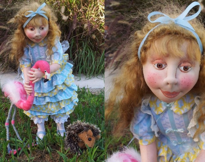 SR834E - Alice Playing Croquet -  Storybook Cloth Doll Making Sewing Pattern by Suzette Rugolo, PDF Download