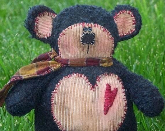 "RP218E - Bearly Love  - 11"" Primitive Bear,  Animal PDF Cloth Doll Pattern by Michelle Allen of Raggedy Pants Designs"