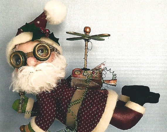 SE904E - Jet Pack Santa –  Steampunk Santa Doll, Art Doll Pattern - PDF Download by Susan Barmore