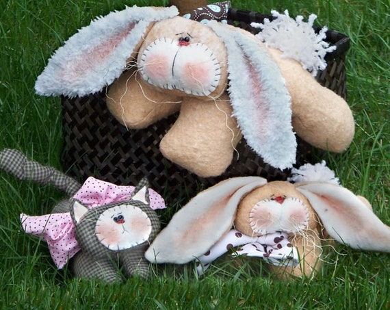 RP215E - Hanging Around Bunnies and Kitty, Animal PDF Download Cloth Doll Pattern by Michelle Allen of Raggedy Pants Designs