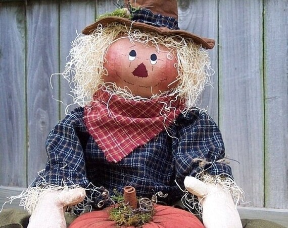 """RP228E - Luke's Pumpkin, 21"""" Scarecrow with pumpkins  PDF Download Cloth Doll Pattern by Michelle Allen of Raggedy Pants Designs"""