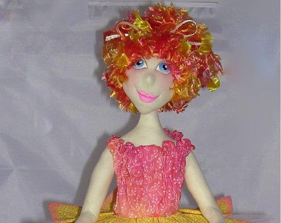 "NH707E – Daffodil, a 15"" Cloth Doll Making Sewing Pattern - PDF Download - Beautiful Spring Fabric Doll!"