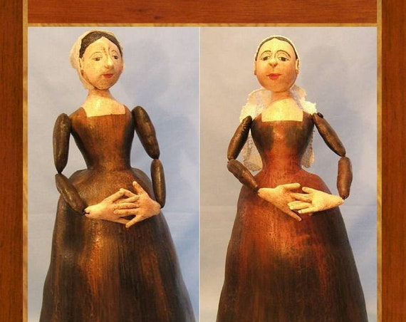 Antique Carved Wooden Doll in Cloth,  Reproduction in Cloth Doll Sewing Pattern – PDF Download Doll Making Pattern - Design by Judi Ward
