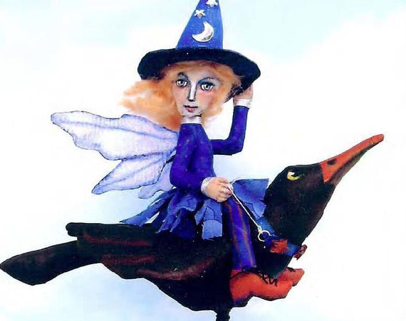 SE712 - Witch Fairy on Bird,  Sewing Cloth Doll Pattern - PDF Download by Susan Barmore