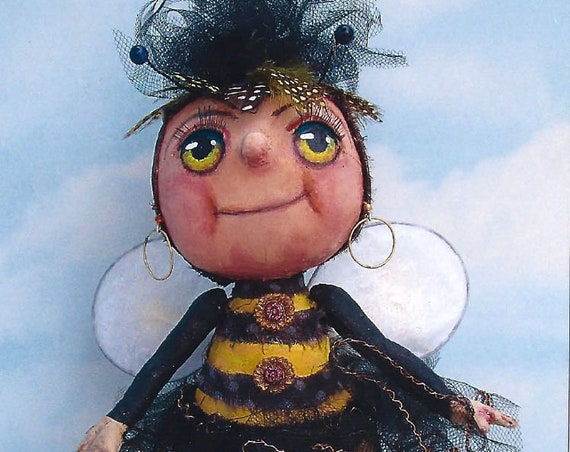 SE477 - Honey Pot,  Fabric Bee Doll Pattern,  Sewing Cloth Doll Pattern - PDF Download by Susan Barmore