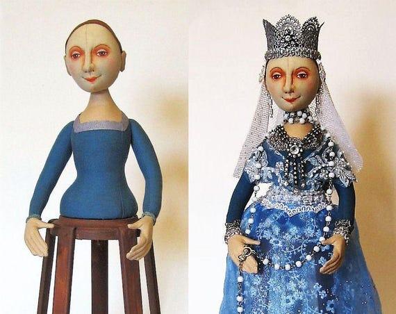 AB517E - Isabella, Santos Cage Doll PDF - Cloth Doll Making Sewing Pattern