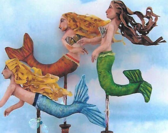 SE432 - Mermaid on a Stick, Fabric Doll Pattern,  Sewing Cloth Doll Pattern - PDF Download by Susan Barmore