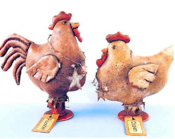 """SE378 - Aunt Birdie & Uncle Lock, 9"""" Rooster annd 7"""" Chichen Painted Fabric Dolls Pattern - PDF Download by Susan Barmore"""