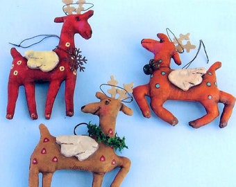 SE807 - Reindeer Angels Ornaments,  Sewing Fabric Pattern - PDF Download by Susan Barmore