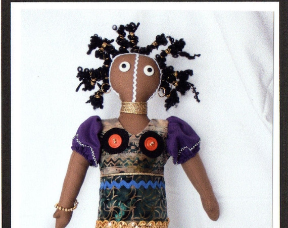 "RC604E – ""Ndebele"" African  Cloth Doll Sewing Pattern – PDF Download Doll Making Pattern"