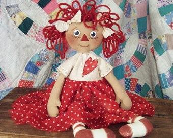 """RP314E - Lucy Ann, 17"""" PDF Raggedy Ann Cloth Doll Pattern by Michelle Allen of Raggedy Pants Designs"""