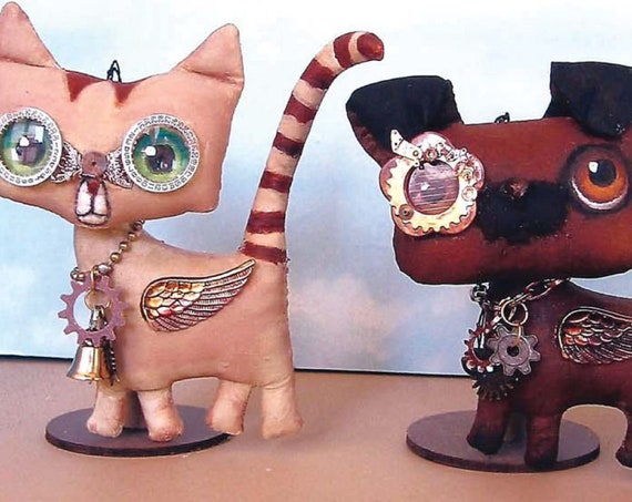SE484E - Cat and Dog Ornaments  - Steampunk Animal Doll Art Pattern - PDF Download by Susan Barmore