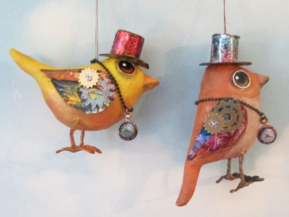 "SE488E -  Steampunk Wrens  - 4""  Bird Ornament Art Pattern - PDF Download by Susan Barmore"