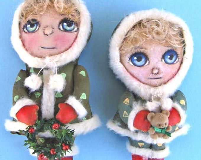 SE453E -  Winter Girls, Holiday Ornament Doll Art Pattern - PDF Download by Susan Barmore