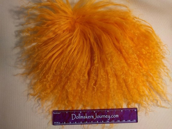 "Tibetan Lamb - Orange - 6"" by 3.5"" Piece - Beautiful For Doll Hair/Wig on BJD, Art Dolls and All Dolls. T-53"