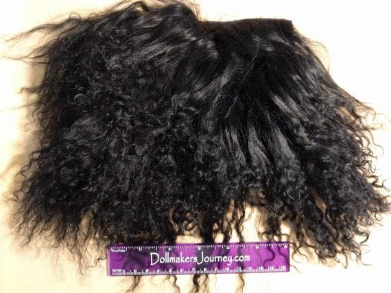 "Tibetan Lamb - Black - 6.25"" by 5.25"" Piece - Beautiful For Doll Hair/Wig on BJD, Art Dolls and All Dolls. T-82"