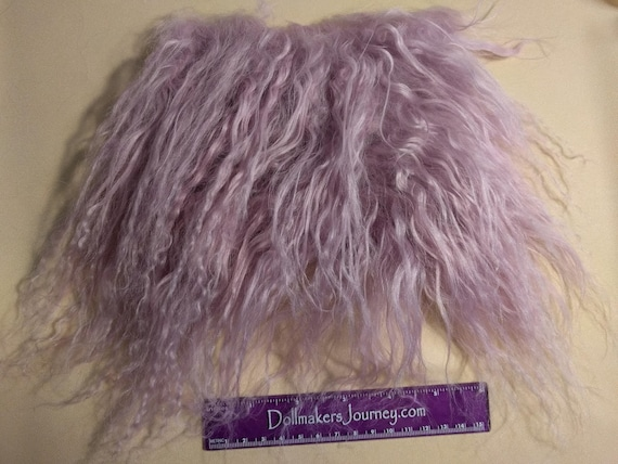 """Tibetan Lamb - Mauve - 6"""" by 4.5"""" Piece - Beautiful For Doll Hair/Wig on BJD, Art Dolls and All Dolls. T-44"""