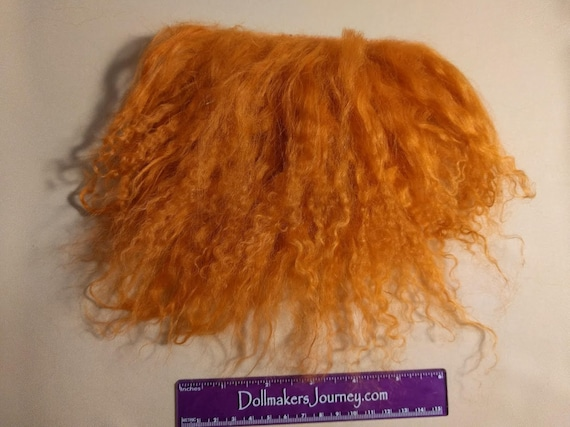 "Tibetan Lamb - Fire Orange - 5"" by 4.25"" Piece - Beautiful For Doll Hair/Wig on BJD, Art Dolls and All Dolls. T-22"