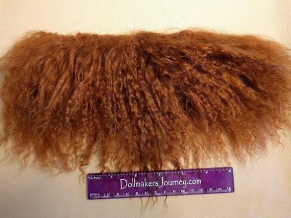 """Tibetan Lamb - Dark Auburn - 10.25"""" by  2"""" Piece - Beautiful For Doll Hair/Wig on BJD, Art Dolls and All Dolls. T-91"""